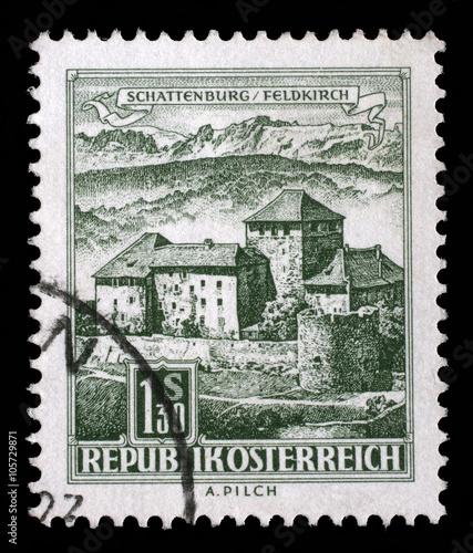 canvas print picture Stamp printed in the Austria shows Schatten Castle, Feldkirch, Vorarlberg, circa 1967