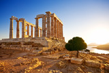 Greece. Cape Sounion - Ruins of an ancient Greek temple of Poseidon before sunset - Fine Art prints