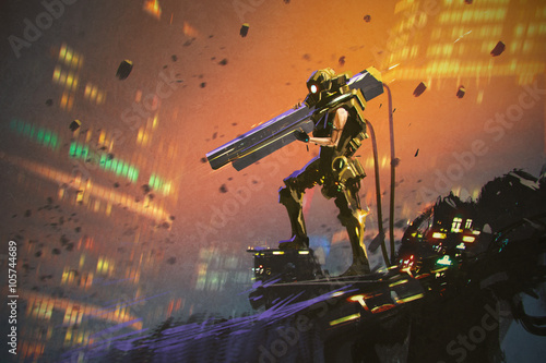 futuristic soldier in yellow suit with gun,illustration painting © grandfailure