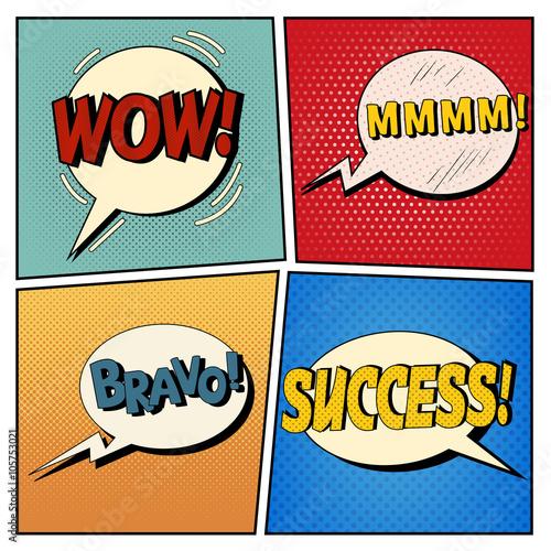 Fotobehang Pop Art Comic Bubbles Set. Expressions Wow, Mmmm, Bravo, Success. Halftone Background. Pop Art
