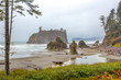 Sea stacks on the Pacific coast at Ruby Beach Washington.