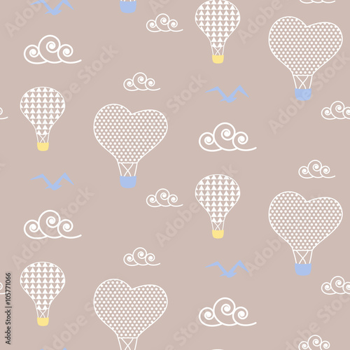 Air balloons in sky baby beige pattern seamless design. Nursery hot balloons kid background for bed linen and apparel. Heart balloons in white clouds design. - 105771066