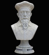 Nostradamus. The Bust of white marble. Isolate.