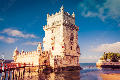 Belem Tower on the Tagus River a famous landmark in in Lisbon Po