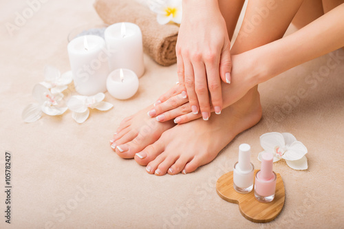 Poster Pedicure Women at spa salon after manicure and pedicure