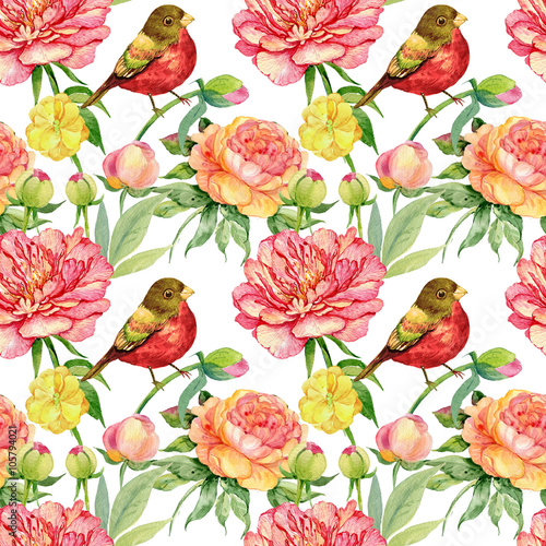 Fototapeta seamless pattern. flowers bird watercolor illustration.the pattern for tactile and Wallpapers