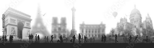 Paris France tourisme terrorisme  voyage noir et blanc - 105801202