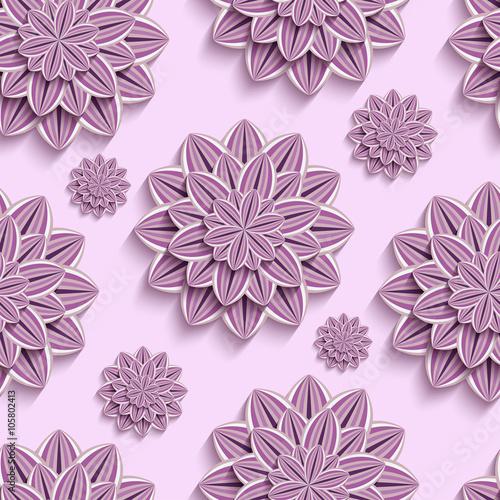 Tapeta Seamless pattern with purple 3d paper flowers