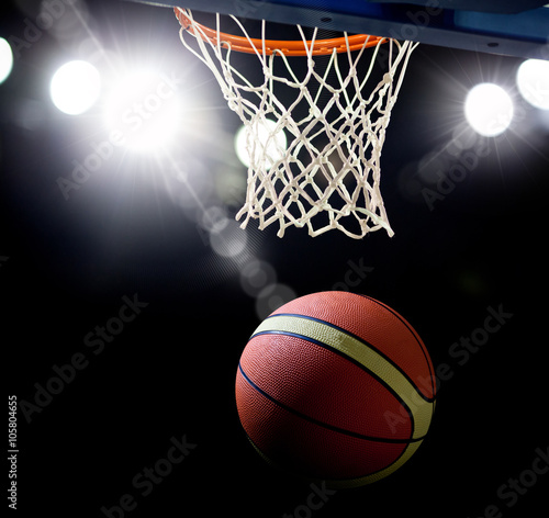 Poster Basketball going through the hoop at a sports arena (intentional