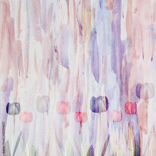 Obraz Abstract floral watercolor background with tulips, double exposu