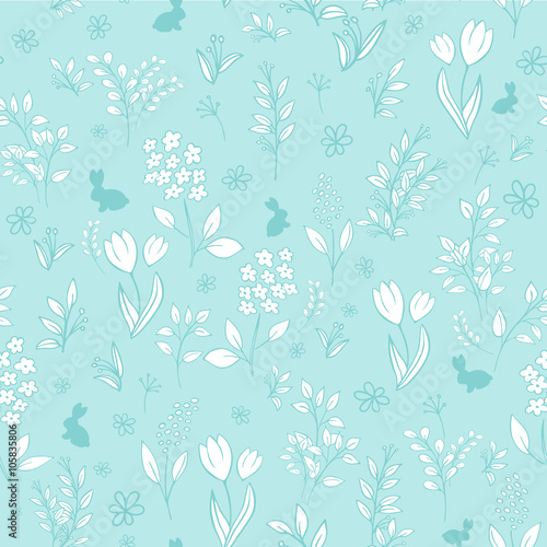 Cotton fabric vector hand drawn floral seamless eastern pattern with branches, tulips, lilacs, mimosas and silhouettes of rabbit