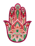 Hamsa Hand in watercolor. Protective and Good luck amulet in Indian, Arabic  Jewish cultures. Hamesh hand in vivid colors.