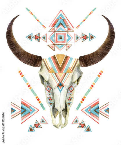 Cow skull in tribal style. Animal skull with ethnic ornament - 105836094