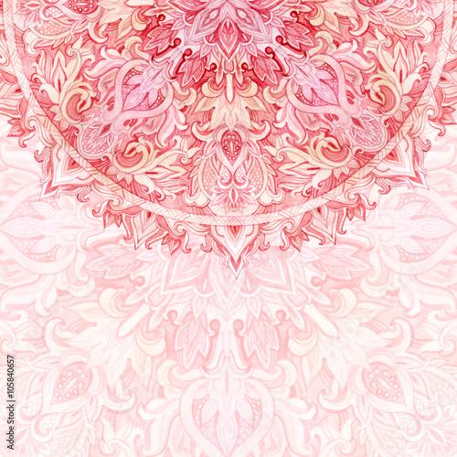 Watercolor mandala. Traditional lace in natural colors - 105840657