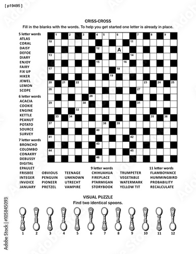 Puzzle Page With Two Puzzles Big 19x19 Criss Cross Word