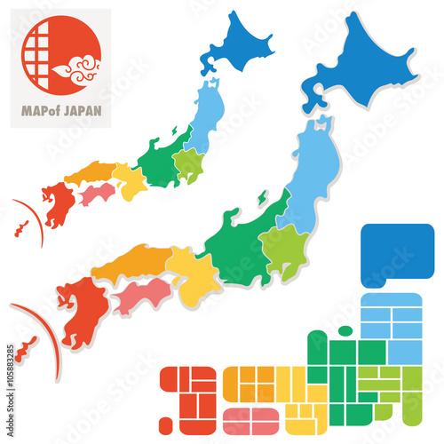 Wall mural 日本地図