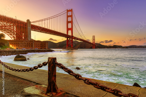 Juliste Golden gate Evening