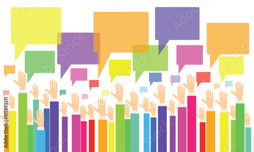 business vote.business opinion and comment  .business people brainstorming .colorful business hand