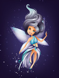 Cute colorful fairy character with magic wand and stars
