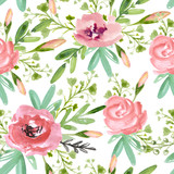 Fototapety Seamless floral pattern with pink flowers  on a white background
