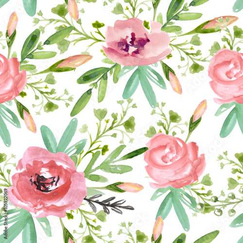 Cotton fabric Seamless floral pattern with pink flowers  on a white background