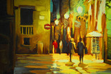walk in the rain in barcelona gothic quarter, painting, illustra