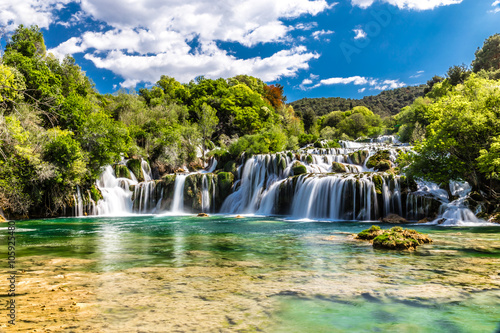 Waterfall In Krka National Park -Dalmatia, Croatia - 105925480