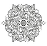 Black and white mandala vector, mandala in bianco e nero da colorare vettoriale
