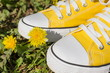Yellow sneakers and spring flowers