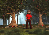 Niño en un bosque encantado