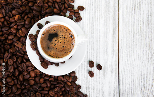 Fototapeta coffee cup and beans