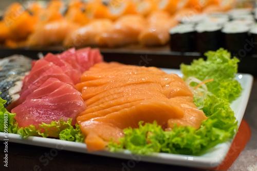 Fototapeta Row of Traditional Japanese sushi and sasimi
