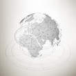 Three-dimensional dotted world globe with abstract construction and molecules on gray background, low poly design vector illustration