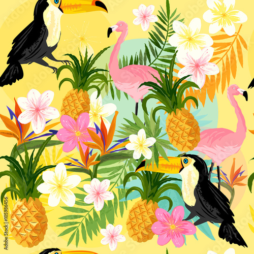Vintage Seamless tropical Pattern