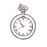 Open Pocket Watch In Vintage  Style. Hand drawn ink sketch vector illustration
