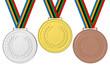 Medaglie Podio 001 Medaglie olimpiche: Oro, Argento e Bronzo con nastro con i colori olimpici.