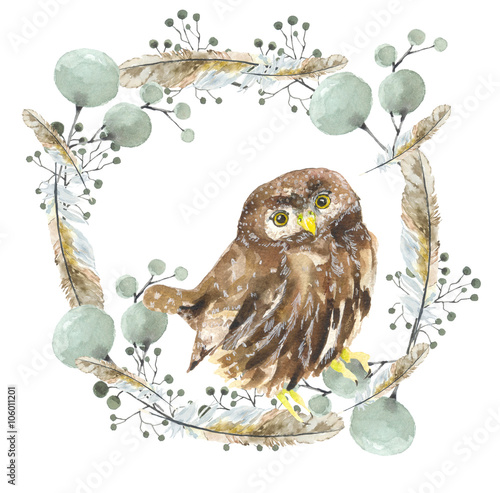 Owl in a wreath. Bird in a wreath with decorative feathers, watercolour drawing. Design on t-shirt, logos, wrapping paper - 106011201