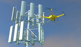 3D render of a UAV drone inspecting a cellular phone tower. Fictitious UAV and wireless tower antenna array; overcast sky and motion blur for dramatic effect.