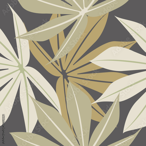 Stylish seamless pattern with tropical leaves - 106012221