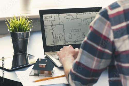 architect, interior designer occupation - man working on new hou