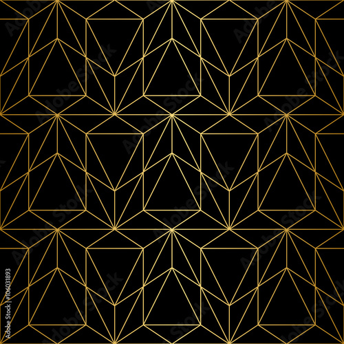 Vector seamless pattern. Geometric background with rhombus and nodes. Abstract geometric pattern. Gray texture. Seamless geometric pattern. - 106031893