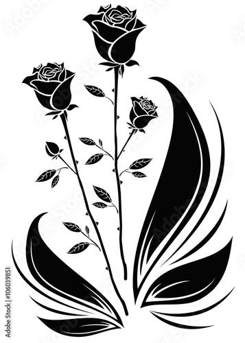 Romantic black roses silhouette