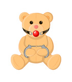 Cute BDSM teddy bear with a gagged and handcuffed