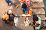 Fototapety Fisher mens  in Pedra Lume harbor in Sal Islands - Cape Verde -