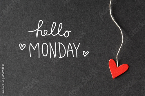 Hello Monday message with paper hearts