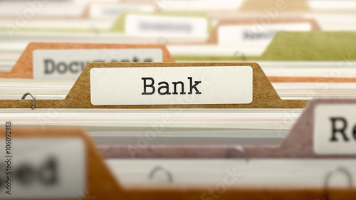 File Folder Labeled as Bank in Multicolor Archive. Closeup View. Blurred Image. 3D Render.