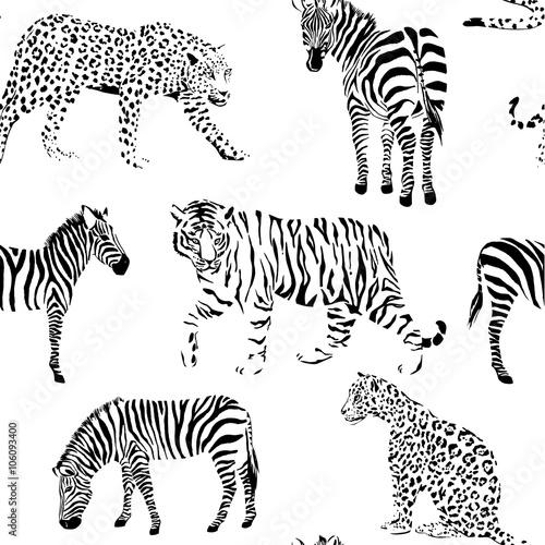 wild animals black and white seamless background