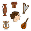 Obrazy na płótnie, fototapety, zdjęcia, fotoobrazy drukowane : Architecture, music and art symbols of ancient Greece with profile of antique greek theater actress, surrounded by ionic columns with ornamental scrolls, amphora and lyre, harp and mandolin