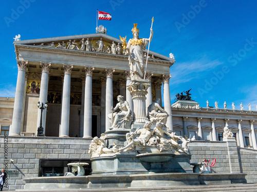 Spoed canvasdoek 2cm dik Standbeeld Österreich, Wien, Parlament