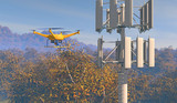 3D render of a UAV drone inspecting a cellular phone tower in a forested area. Fictitious UAV and wireless tower antenna array; overcast sky and motion blur for dramatic effect.